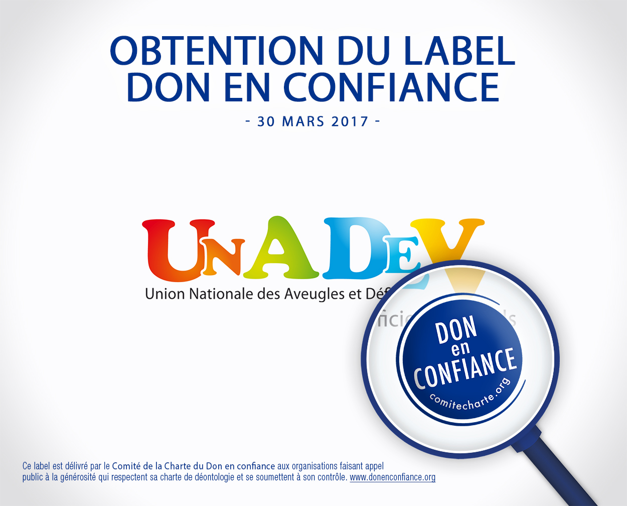 "obtention label ""Don en confiance"" UNADEV"